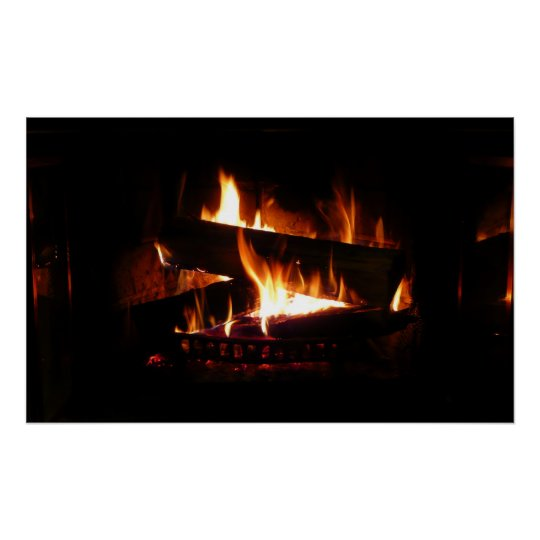 Fireplace Warm Winter Scene Photography Poster