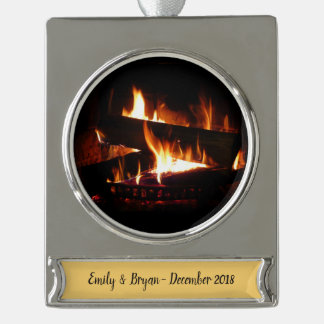 Fireplace Warm Winter Scene Photography Silver Plated Banner Ornament