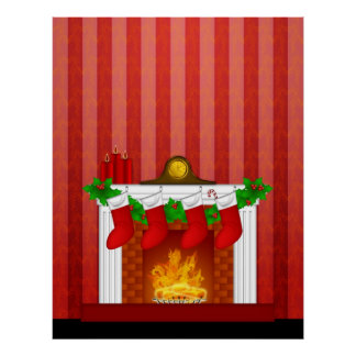 Fireplace with Christmas Decorations Red Wallpaper Poster