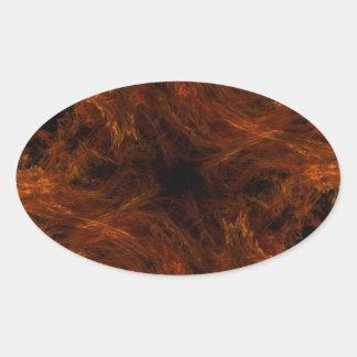 Firery Orange Abstract Fractal Oval Sticker