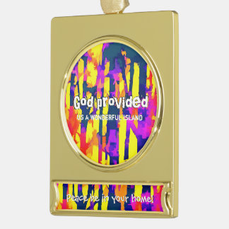 Fires And Passion Two Gold Plated Banner Ornament