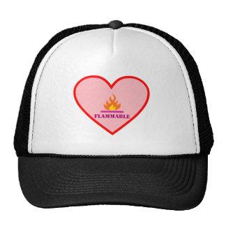Fires catch heart flammable heart mesh hats