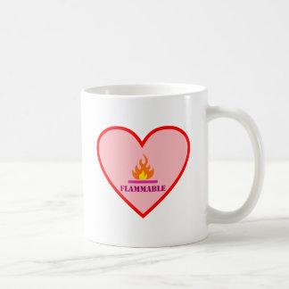 Fires catch heart flammable heart coffee mugs