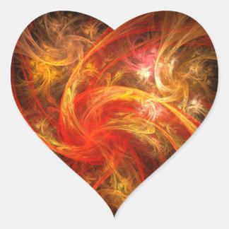 Firestorm Nova Abstract Art Heart Sticker