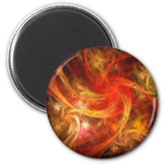 Firestorm Nova Abstract Art Round Magnet