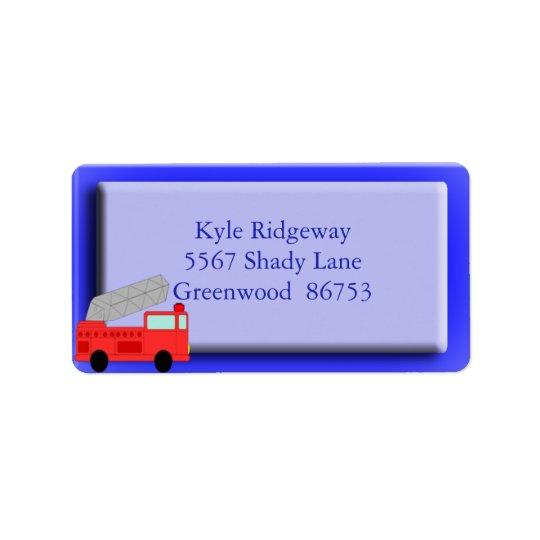Firetruck Address Label