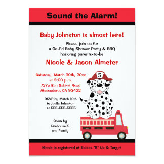 Firetruck and Dalmatian Engine 27 Baby Shower Card