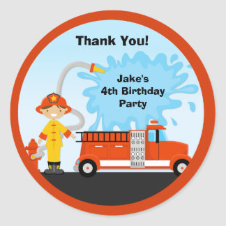 Firetruck Birthday Party Favor Stickers