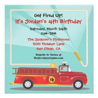 """Firetruck Birthday Party Invitation 5.25"""" Square Invitation Card"""