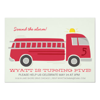 Firetruck Birthday Party Invite