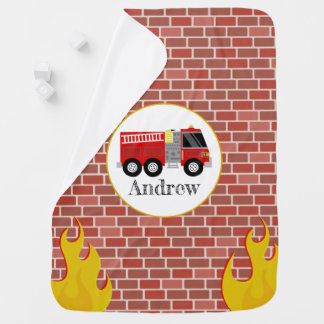 Firetruck + Bricks Personalized Baby Blanket