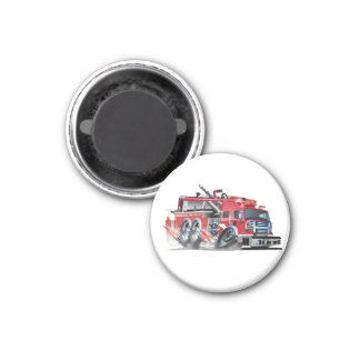firetruck burnout 3 cm round magnet