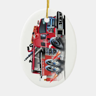 firetruck burnout ceramic oval decoration