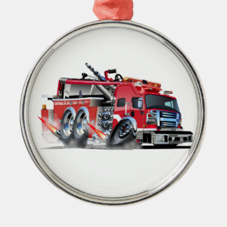 firetruck burnout Silver-Colored round decoration