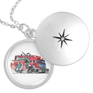 firetruck burnout silver plated necklace