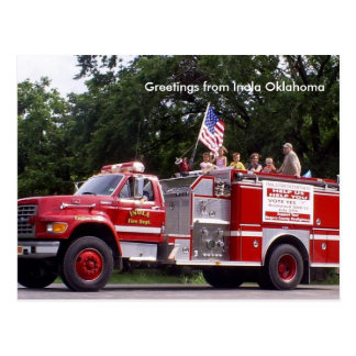 Firetruck, Greetings from Inola Oklahoma Postcard
