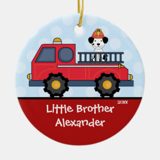 Firetruck Little Brother Christmas Ornament