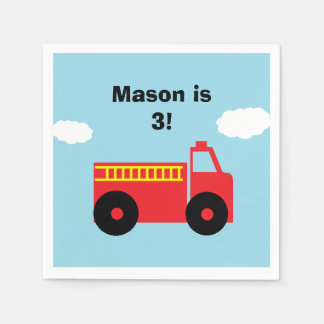 """Firetruck"" Personalized Paper Napkins"