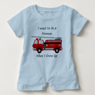 Firetruck Romper for Boys Baby Bodysuit