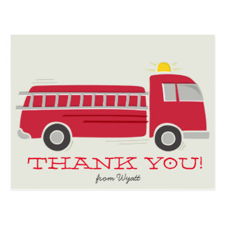 Firetruck Thank You Postcard