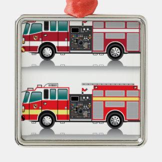 Firetruck Vector Silver-Colored Square Decoration