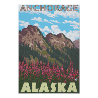 Fireweed & Mountains - Anchorage, Alaska Poster