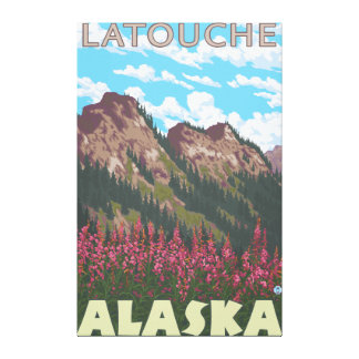 Fireweed & Mountains - Latouche, Alaska Gallery Wrapped Canvas