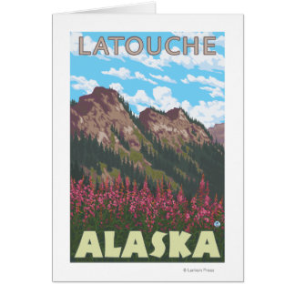 Fireweed & Mountains - Latouche, Alaska Greeting Cards