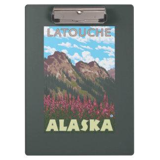 Fireweed & Mountains - Latouche, Alaska Clipboard