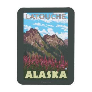 Fireweed & Mountains - Latouche, Alaska Rectangular Photo Magnet