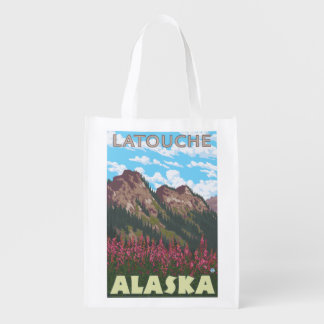 Fireweed & Mountains - Latouche, Alaska Reusable Grocery Bags