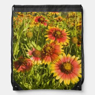 Firewheels Gaillardia pulchella) wildflowers Drawstring Bag