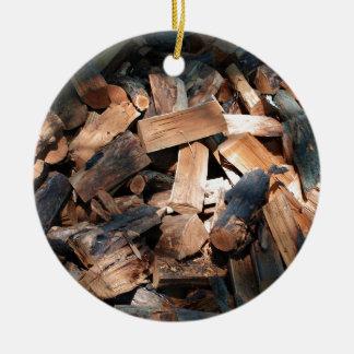 firewood ceramic ornament