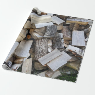 Firewood  logs photograph wrapping paper