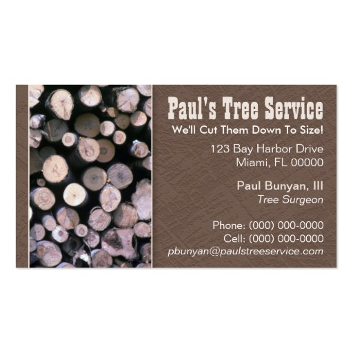 Firewood tree service business card zazzle for Tree service business card