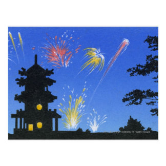 Firework display and silhouette of pagoda postcard
