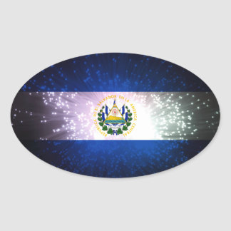 Firework; El Salvador Flag Oval Sticker