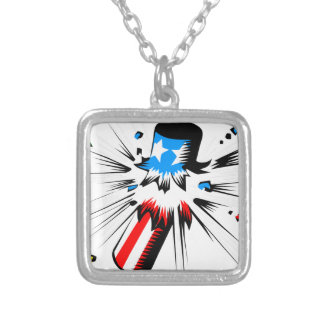 Firework Explosion Silver Plated Necklace