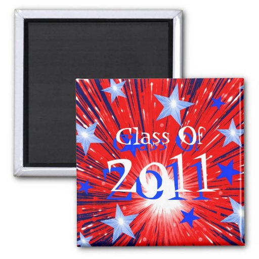 Firework R W B 'Class of 2011' magnet square Refrigerator Magnets