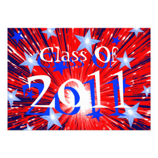 Firework Red White Blue Class of 2011 party Custom Announcement