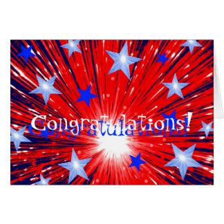 Firework Red White Blue 'Congratulations!' card