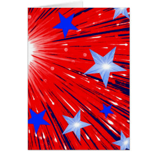 Firework Red White Blue greetings card portrait