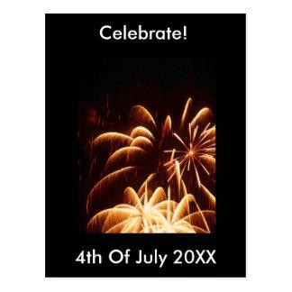Fireworks 4th July Postcard