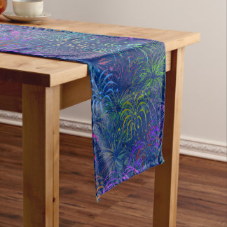 Fireworks 4th of July Colorful Summer Pattern Medium Table Runner