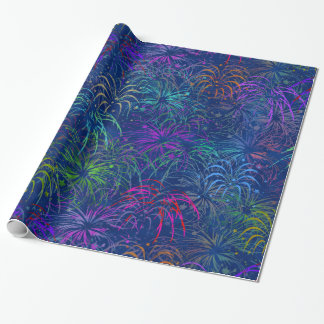 Fireworks 4th of July Colorful Summer Pattern Wrapping Paper