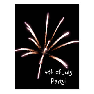 Fireworks 4th of July Party Invitation Postcard