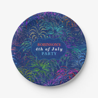 Fireworks 4th of July Party | Personalized Summer 7 Inch Paper Plate