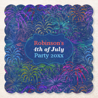 Fireworks 4th of July Party   Personalized Summer Paper Coaster