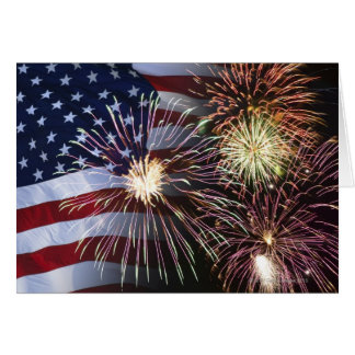 Fireworks and American flag Greeting Card