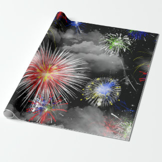 fireworks and clouds celebration wrapping paper
